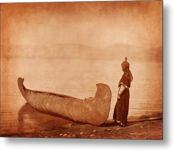Native American Woman With Canoe Photograph by Cat Whipple