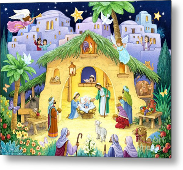 Nativity For Children Metal Print