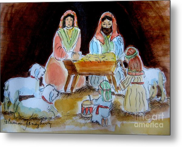 Nativity With Little Drummer Boy Metal Print