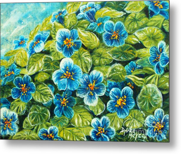 Nature Blue Flowers Original Painting Oil On Canvas Metal Print by Drinka Mercep