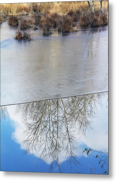 Nature Draws Its Line With Its Ice Metal Print by Terrance DePietro