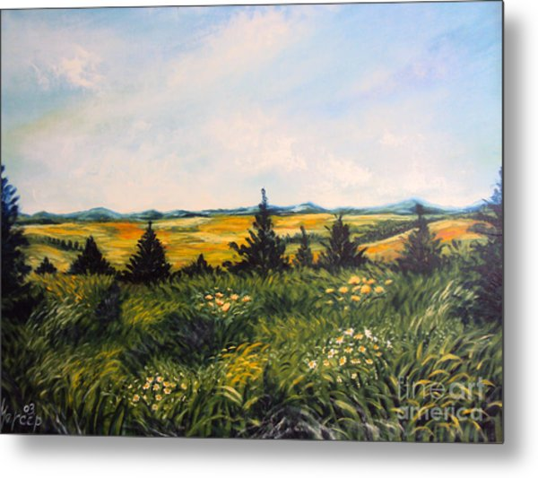 Nature Landscape Sky Mountains Pines Grass And Flowers Metal Print by Drinka Mercep