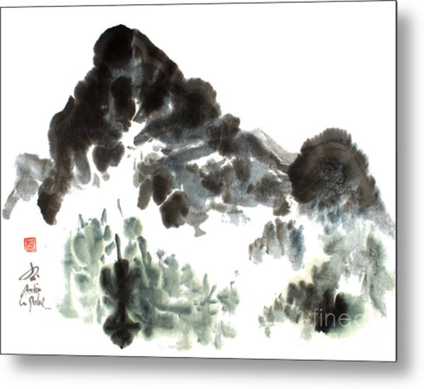 Nature Mountain Painting Metal Print by Nadja Van Ghelue
