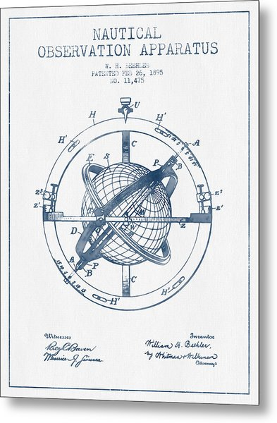 Nautical Observation Apparatus Patent From 1895  -  Blue Ink Metal Print