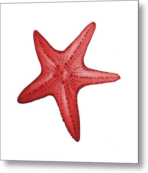 Nautical Red Starfish Metal Print