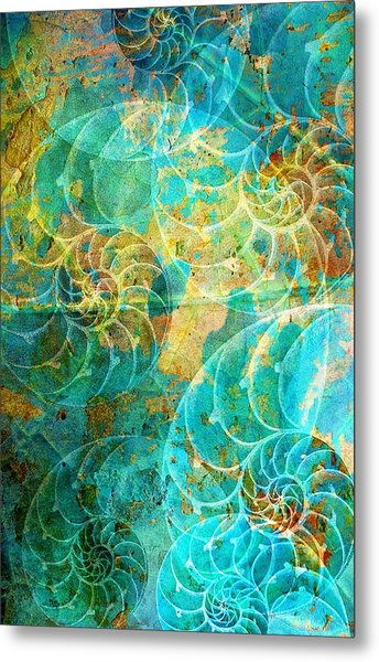 Nautilus Seashells In Aqua Metal Print