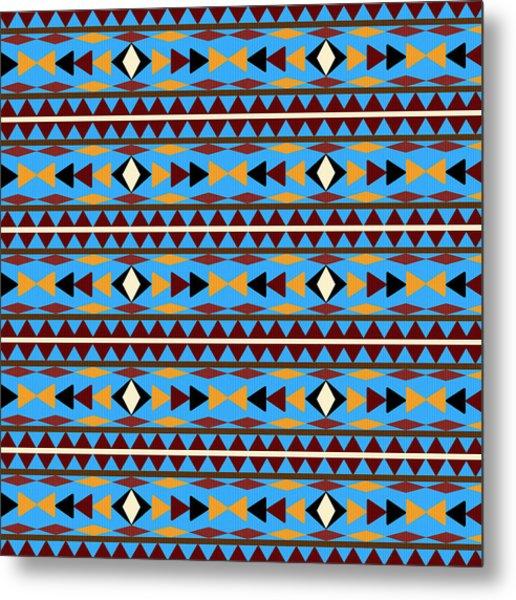 Navajo Blue Pattern Metal Print