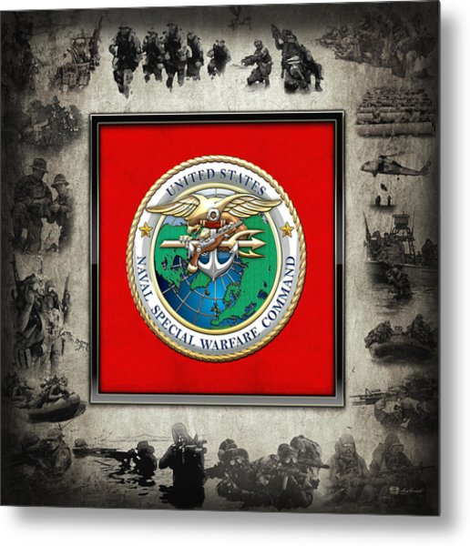 Naval Special Warfare Command - N S W C - Emblem  Over Navy Seals Collage Metal Print