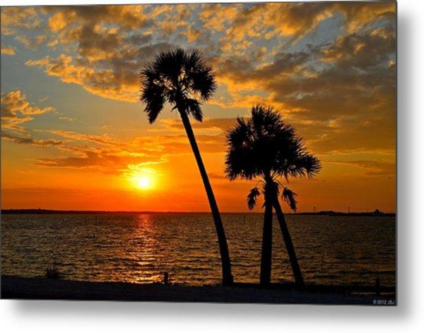 Navarre Beach Bridge Sunrise Palms Metal Print