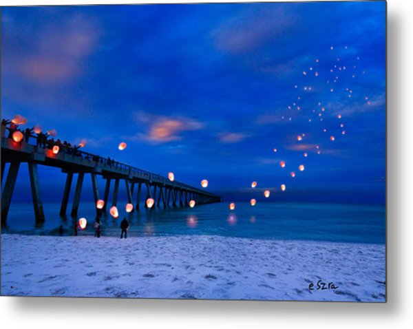 Navarre Beach Fishing Pier - Night Landscape Metal Print