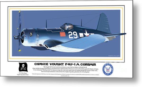 Navy Corsair 29 On Blue Metal Print