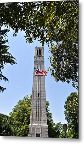 Nc State Memorial Bell Tower And Us Flag Metal Print