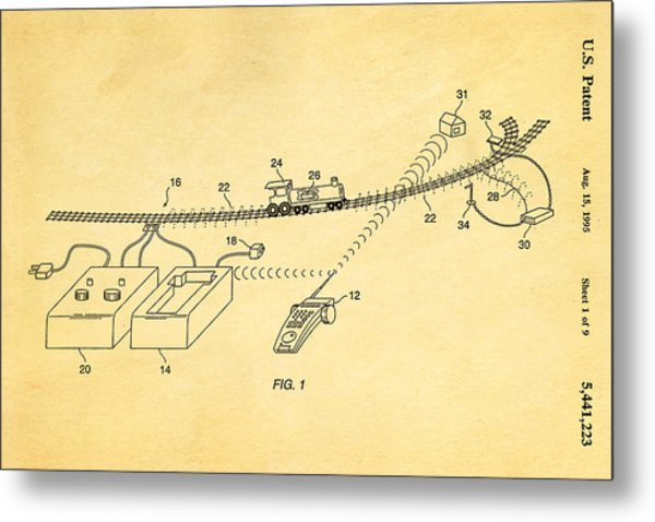 Neil Young Train Control Patent Art 1995 Metal Print