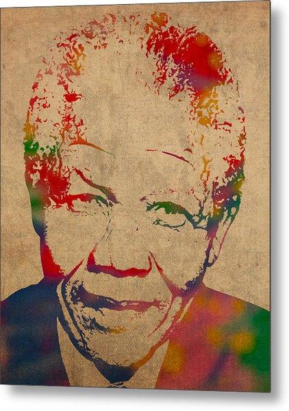 Nelson Mandela Watercolor Portrait On Worn Distressed Canvas Metal Print