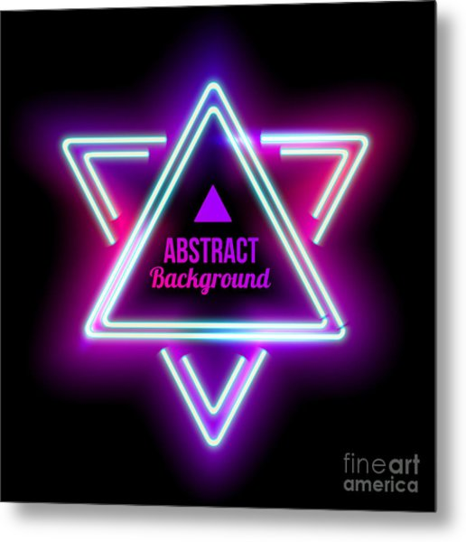 Neon Abstract Triangle. Glowing Frame Metal Print