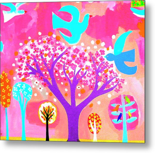 Neon Colored Birds And Flowering Trees Metal Print by Christopher Corr