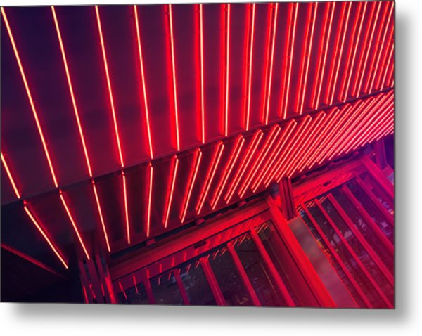 Neon Lit Entrance Metal Print by Marcus Lindstrom