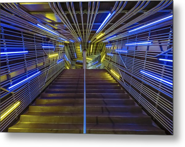 Neon Steps Metal Print by Akos Kozari
