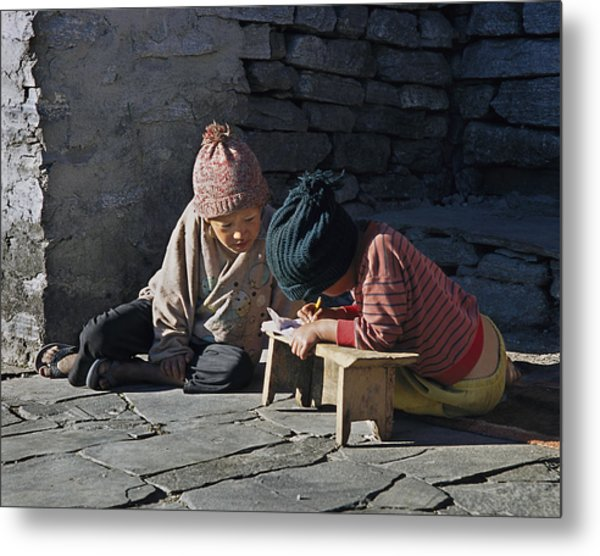 Nepalese Boys Drawing  Metal Print