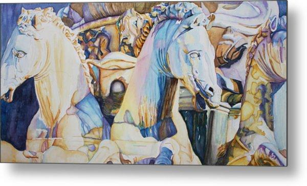 Neptune's Sea Horses - Florence Metal Print