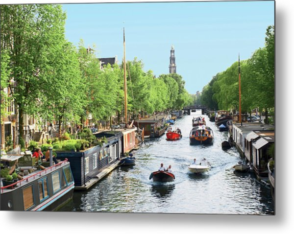 Netherlands, Amsterdam, Boats Cruise Metal Print