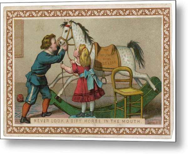 Never Look A Gift Horse In The  Mouth Metal Print by Mary Evans Picture Library