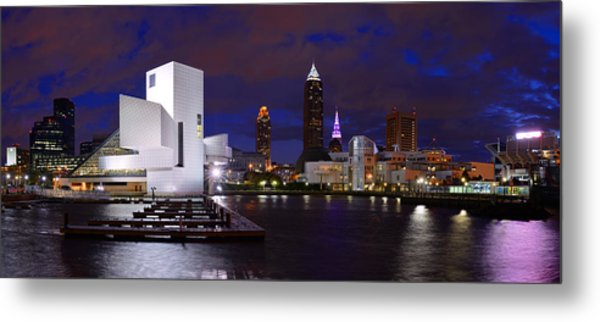 New Cleveland Waterfront With Storm Clouds Metal Print