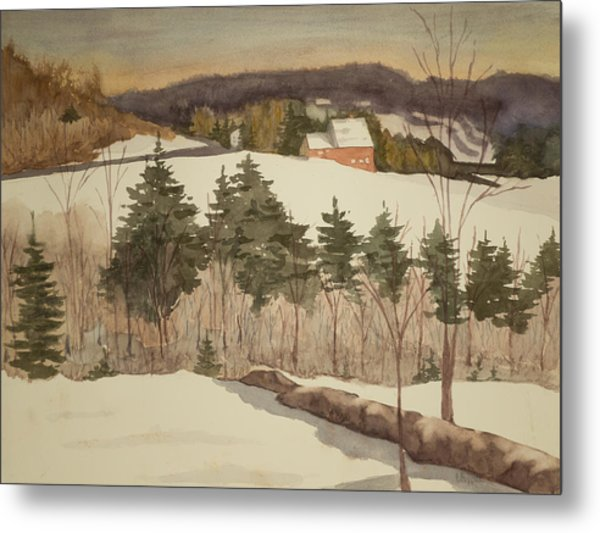 New England Winter Metal Print by Peggy Poppe