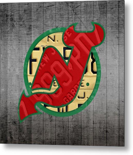 New Jersey Devils Hockey Team Retro Logo Vintage Recycled Garden State License Plate Art Metal Print
