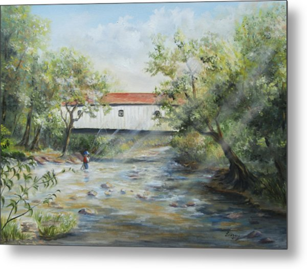 Metal Print featuring the painting New Jersey's Last Covered Bridge by Katalin Luczay