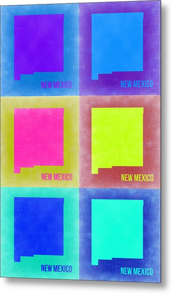 New Mexico Pop Art Map 2 Metal Print