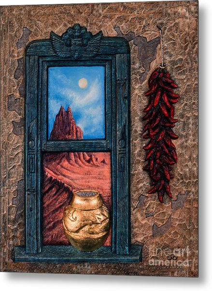 New Mexico Window Gold Metal Print