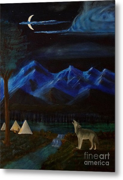 New Moon Howling Metal Print by Stephen Schaps