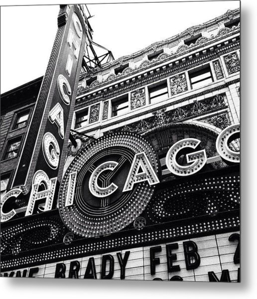 Chicago Theatre Sign Black And White Photo Metal Print