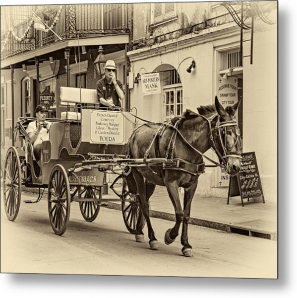 New Orleans - Carriage Ride Sepia Metal Print