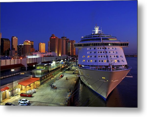 New Orleans Skyline With The Voyager Of The Seas Metal Print