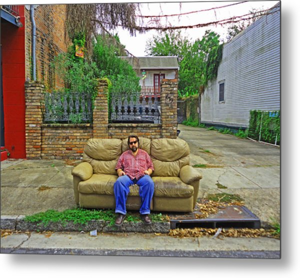 New Orleans Street Couch Metal Print