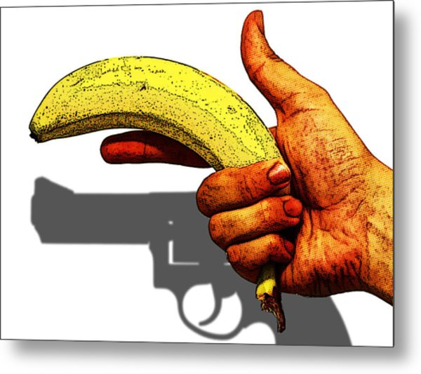 New Photographic Art Print For Sale   Hand Gun Against A White Background Metal Print