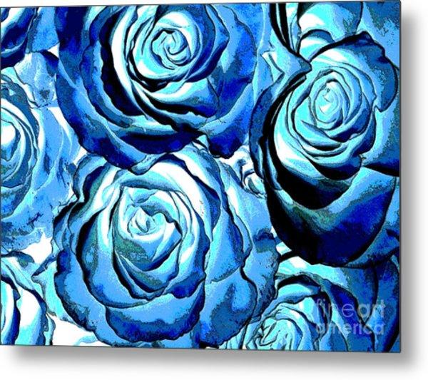Pop Art Blue Roses Metal Print