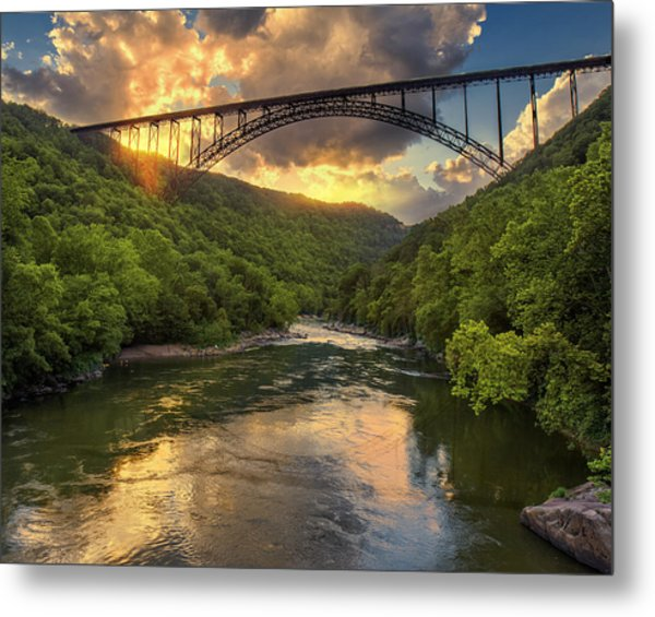 New River Evening Glow Metal Print