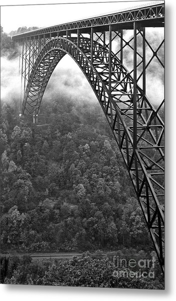 New River Gorge Bridge Black And White Metal Print