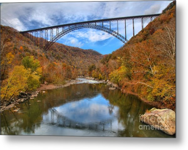 New River Gorge Reflections Metal Print