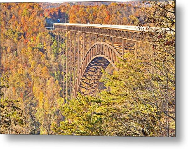 New River Gorge Single-span Arch Bridge In Autumn. Metal Print