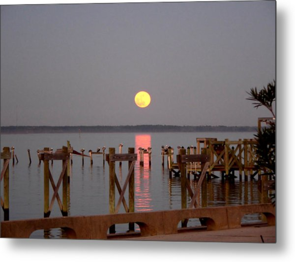 New Years Eve Blue Moon On The Bay Metal Print