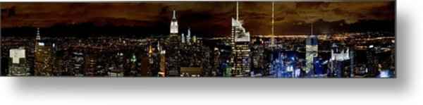 New York At Night Panorama Metal Print