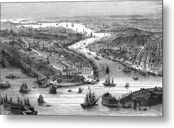 New York City And Docks, 19th Century Metal Print
