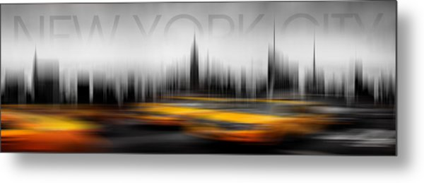 New York City Cabs Abstract Metal Print