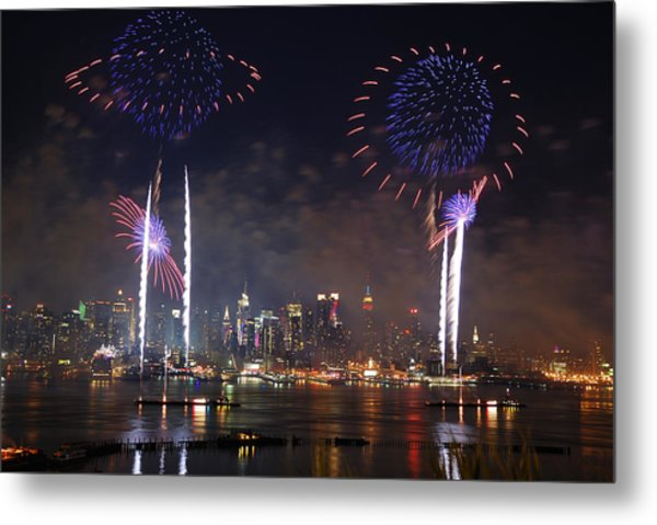 New York City Fireworks Show Metal Print