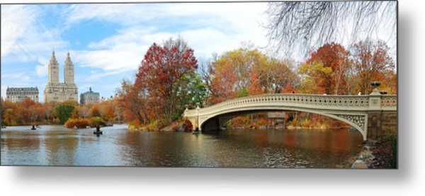 New York City Manhattan Central Park Panorama At Autumn Metal Print