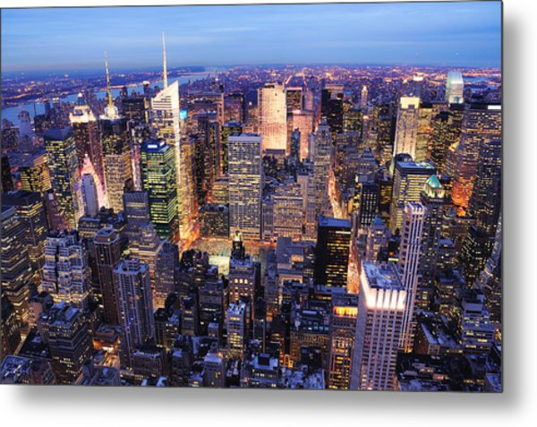New York City Manhattan Times Square Night Metal Print